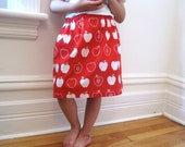 Girls Apple Skirt - Back to School Autumn Fashion Skirt in Red and White - Fall Kids Clothing (Ready to Ship size 6T)