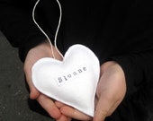 RESERVED Personalized Ornament - Wool Felt Heart Christmas Ornament - Eco Friendly Love - White Home Decor - Modern Kids Baby Gift