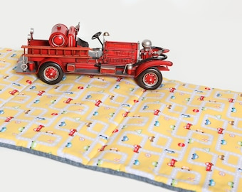 Boys Nap Mat - Eco Friendly, Non Toxic Toddler Preschool Napmat with Organic Cotton, Yellow City Traffic Cars