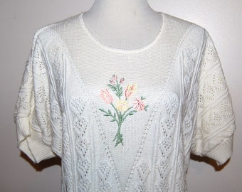 SALE....14.50    Vintage Sweater Sweet Pointelle Ivory with Flowers