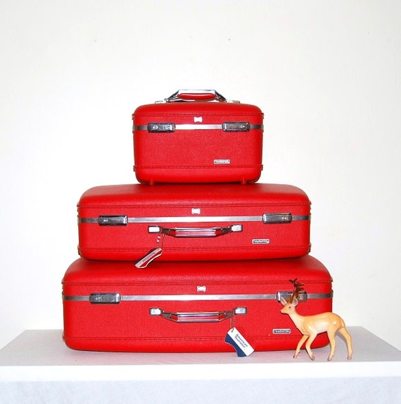 Vintage Red Luggage Trio