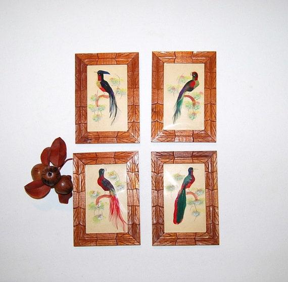 Vintage Bird Feather Art