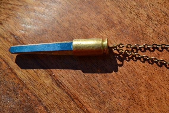 Titanium Aura, Rainbow Aura, Peacock Aura Matte Finish 9mm Brass Bullet Crystal Necklace Extra Long Stone