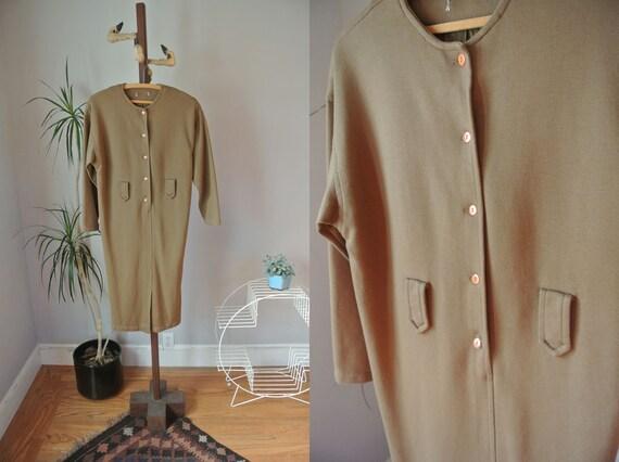 Vintage Olive Minimal Button Down Dress S/M
