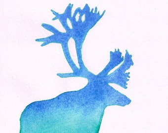 Caribou 2 Silhouette Watercolor - Watery Green and Blue Ombre, 5 x 7