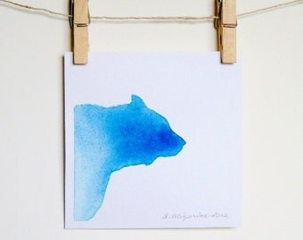 Watercolor Silhouette, Watery Bear - Blue Ombre, 5 x 5 inches