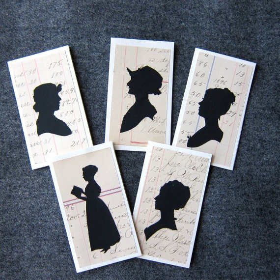 Hand-cut Lady Silhouette Enclosure Cards on Antique Paper Set of 5