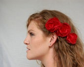 Ruby Red Floral Hair Combs- Bridal Collection READY TO SHIP