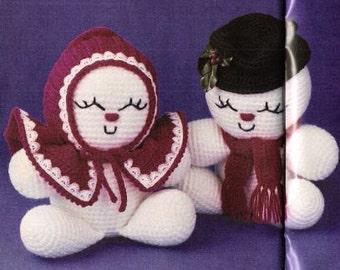 Vintage Crochet Pattern Snowman and Snowlady