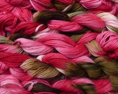 Pure wool yarn worsted weight, hand dyed pink and olive, 5 skeins, 9 oz.
