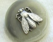 Plastic & Metal Insect Button - Pewter Fly on Faux Stone Base