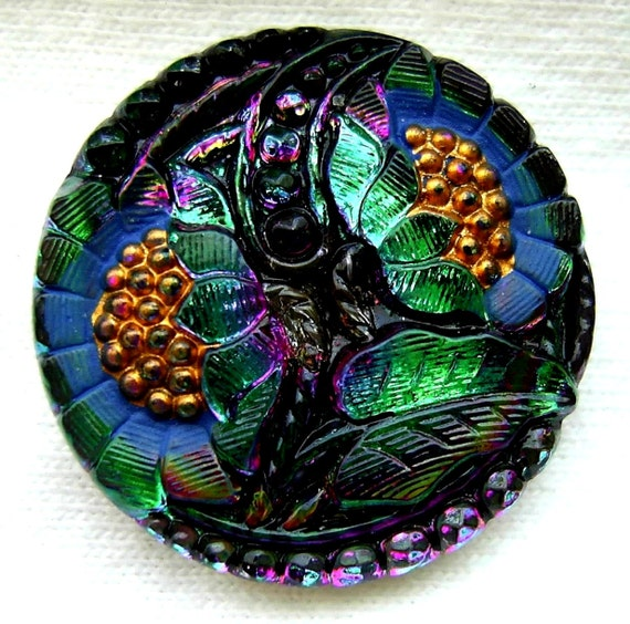 """Czech Glass Button - Green Mirror Back """"Double Sunflower"""" w/ Painted Accents"""