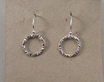 Sterling Silver Hand Stamped Small Circle Earrings
