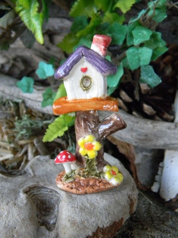 Strump Tree Top Miniature House .... A Gnome or Fairy  Home for terrariums red muscari