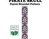 Peyote Pattern - Pirate Skull - INSTANT DOWNLOAD PDF - Peyote Stitch Bracelet Pattern