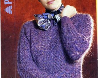 Knitting Pattern for Raglan Sweater Vintage Original 1980s