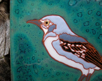 Mockingbird  tile, -CUSTOM ORDER -allow 4-6 wks production time-Arts and Crafts style, great for birders, kitchen,bath,fireplace surround