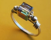 Wire Wrapped Sterling Silver and Swarovski Vitrail Cube Ring