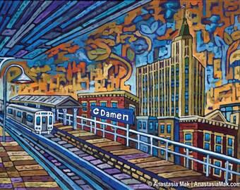 Damen Stop, Chicago Bucktown, Coyote building 8x10 Art Print by Anastasia Mak