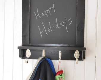 Chalkboard with Shelf and Silverware Hooks