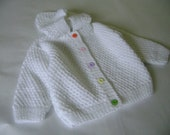 Knitted Baby Girl Sweater. REDUCED PRICE  Hooded Baby Girl  Sweater. Warm/Soft  Baby Girl  Sweater. 12 Months Antiallergic Yarn