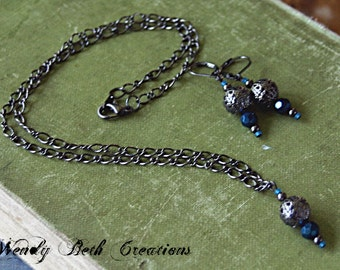 Deep Blue Crystal Necklace and Earring Set - Steampunk, Elegant, Gunmetal, Wedding, Prom