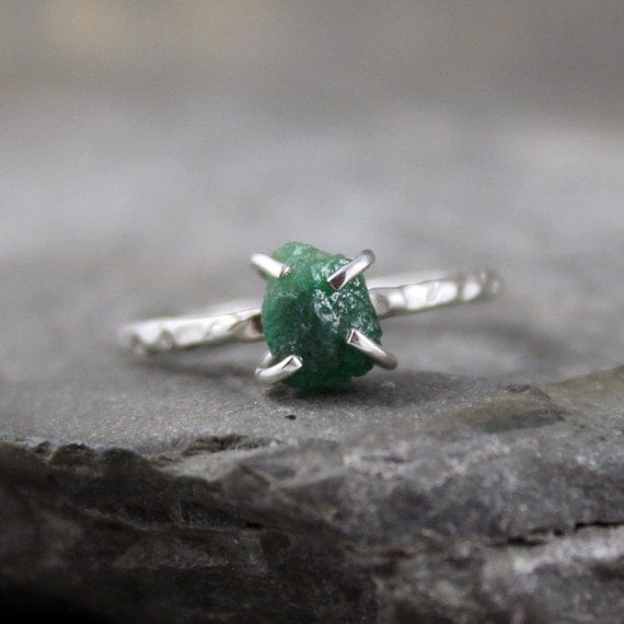 Uncut Rough Green Emerald Ring - Raw Gemstone Sterling Silver Ring  -  May Birthstone - Rustic Jewelry - Gemstone Engagement Ring