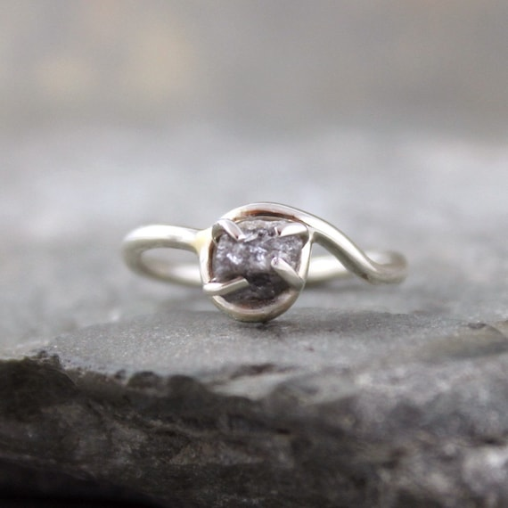 Raw Diamond Ring - Sterling Silver - Engagement Ring - Promise Ring - April Birthstone - Diamond in the Rough Rings - Cocktail Rings