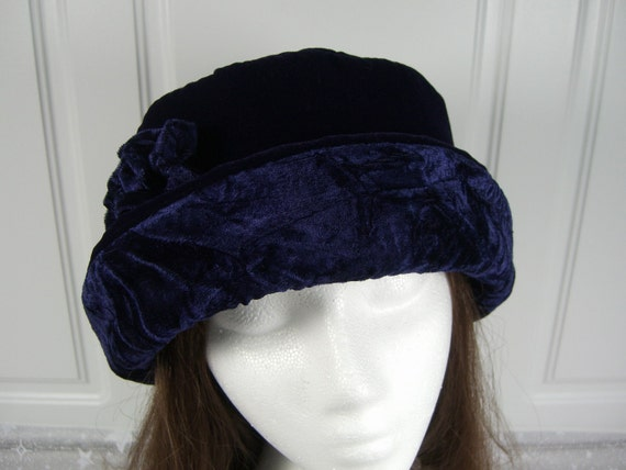 Navy Blue VELVET Hat with velvet rose, Women's Velvet Hat, Winter Velvet Hat, Blue Velvet Hat, Women's Winter Hat