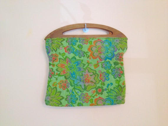 SALE- Vintage Floral Stitched Handbag with Wood Handles. Green. Stitched Fabric. Flowers. Orange. Blue. 1970s. Retro. Hippie.