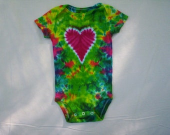 Heart Tie Dye Baby Bodysuit Choose Size