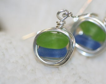 cornflower blue and lime green  beach sea glass 925 sterling silver wire wrapped dangling earrings