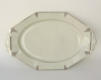Deauville Art Deco Serving Platters, LG: 1931 Community China - Ivory Porcelain w/ Platinum, Vintage Wedding China