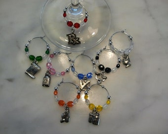 Pharmacy Pharmacist Wine Charms  set of 8
