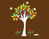 Childrens Tree Vinyl Wall Art Decal - Flowers Caterpillar Butterflies Nursery Decor