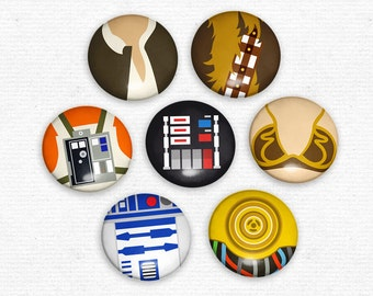 Star Wars Magnet Set 7 original illustrated minimalist style magnets
