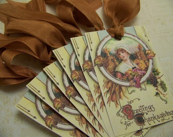 Thanksgiving Tags - Vintage Style - Set of 6 - Greetings for Thanksgiving