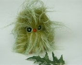 Plushie chartreuse green baby Owl kiwi the sweet recycled faux fur wool needle felt rare bird (woolcrazy)