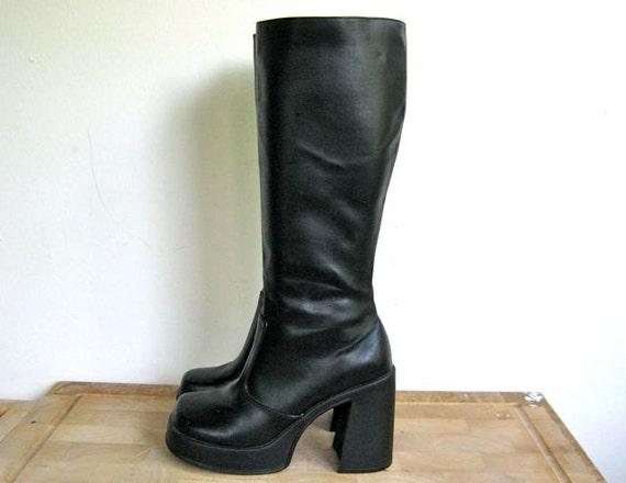 vintage 90s tall black vegan chunky GOTH platform boots