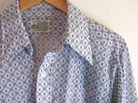 vintage men's blue and white shirt // hipster chess kings