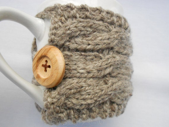 Knitted cup cozy. Cables. Cup warmer. Natural. Ready to ship.