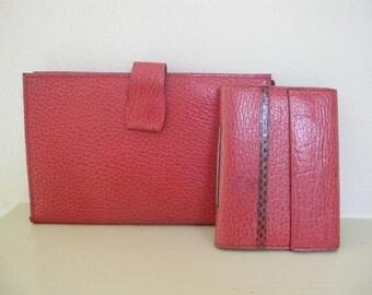 1960s Vintage Red Genuine Pigskin Leather Wallet Notebook Photo Holder Clutch