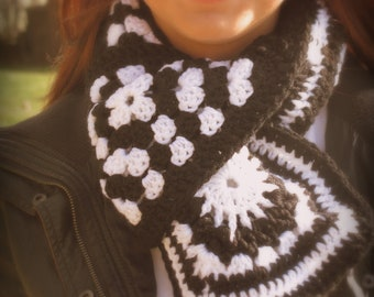 Scarf-Black and White Granny Square Scarf- Ready to ship