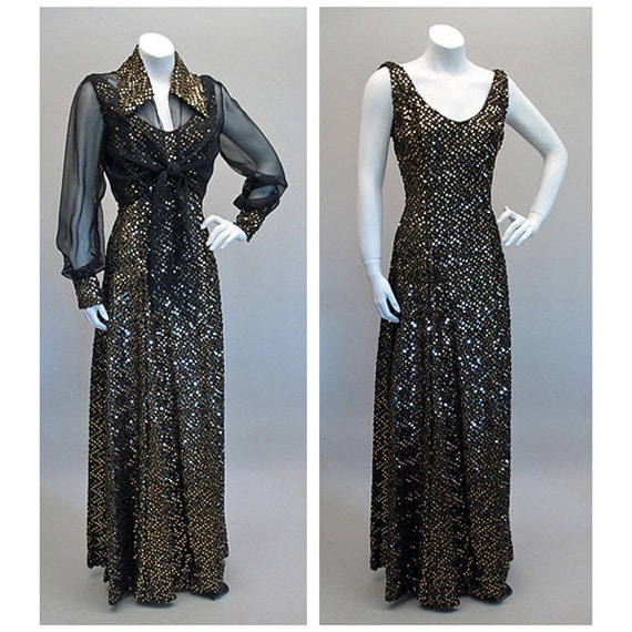 Glam Vintage 1970s Gold and Black Sequin Party Dress