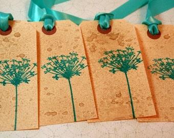 Dandelion Gift Tag - Teal - Vintage Style (Set of 4) -  Wedding Tag, Hang Tag