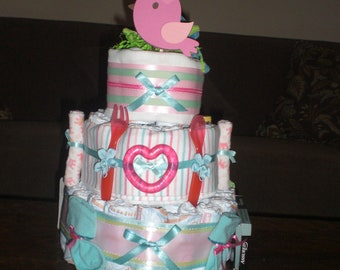 Aqua Blue and Pink Bird Diaper cake Baby Shower Centerpiece Gift in other sizes and colors too