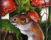 ACEO Limited Edition Hand Embellished PRINT Mouse Mice Animal Autumn Mushroom Forest Wildlife ART