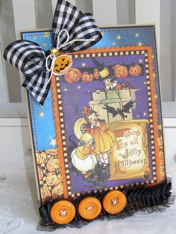 Halloween Children Pumpkin Handmade Card