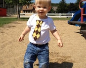 Tie onesie or T-shirt, brown argyle with yellow, green, red and/or blue. Perfect for Father's Day.