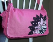 Messenger bag hot pink with peone flower design. Great gift for mom-to-be at her baby shower, teenager, grandma. book bag